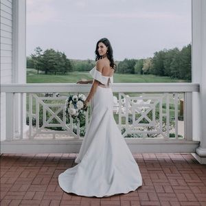 Lela Rose cuffed off the shoulder textured silk jacquard open back wedding gown